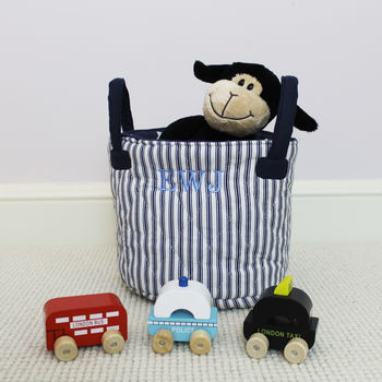Personalised Blue Quilted Toy Bag Small