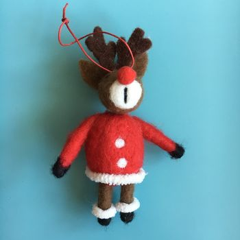 Wool Reindeer Santa Christmas Tree Decoration