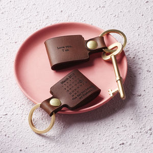 Personalised Never Forget Date Leather Keyring - for the couple