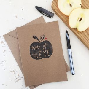 Apple Of My Eye Handmade Card - teacher cards