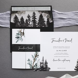 Winter Forest Wedding Invitations - save the date cards