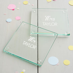 Personalised Mr And Mrs Wedding Coaster Set - mr & mrs