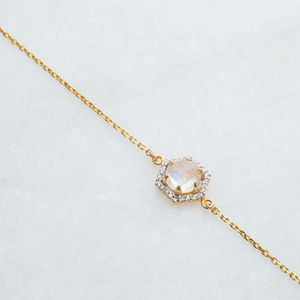 Hexagon Semi Precious Diamond Bracelet - gifts for mothers