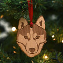 Siberian Husky Dog Wooden Christmas Decoration