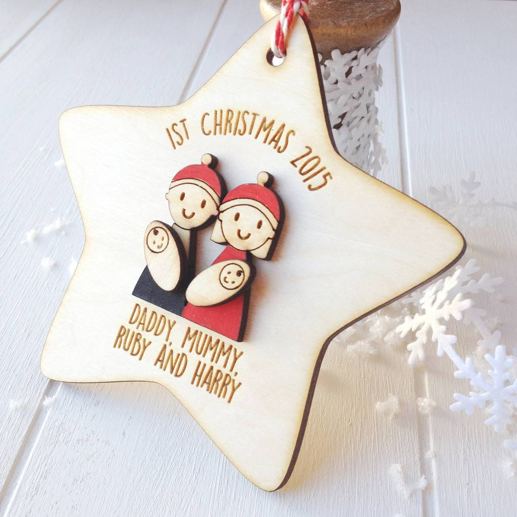 Personalised Family With Baby Twins Tree Decoration