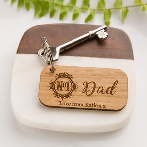 Number One Dad Oak Personalised Keyring