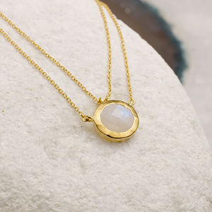 18ct Gold Vermeil Double Chain Gemstone Necklace - new season