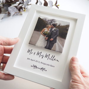 Personalised Wedding Photo Clay Tile Framed Print