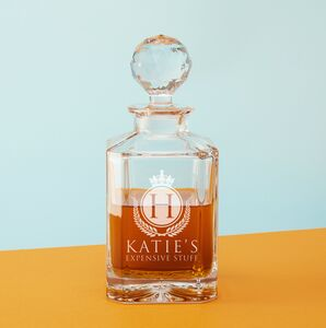 'Expensive Stuff' Square Crystal Decanter