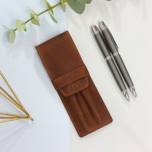 Pen Pencil Set With Personalised Vintage Leather Case - writing