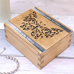 Personalised Wooden Butterfly Trinket Box