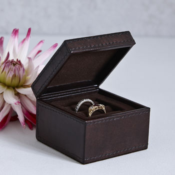leather dark brown wedding ring box