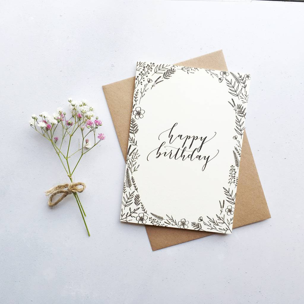 Happy Birthday Modern Calligraphy Card