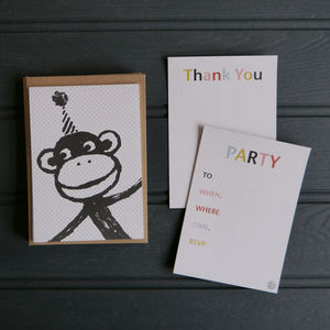 A6 Monkey Party Invitations And Thank You Postcards