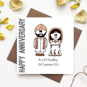 'Happy Anniversary' Card Traditional Indian Dress
