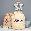 Luxury Personalised Christmas Sack With Star Print