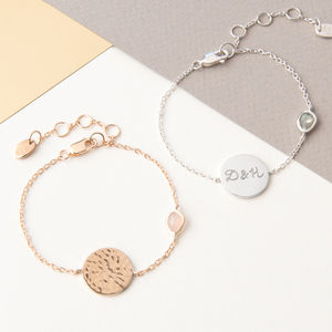 Personalised Hammered Disc And Gem Bracelet - gifts for her sale