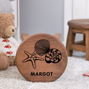 Personalised Sea Themed Wooden Stool