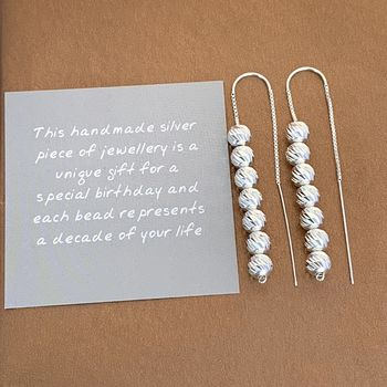 70th Birthday Sparkly Beads Threader Earrings