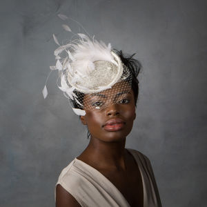 Bridal Feather Cocktail Hat With Net Veil - bridal hairpieces