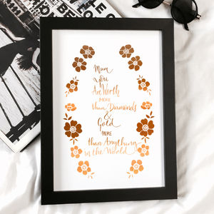 Copper Foil Mothers Birthday Gift