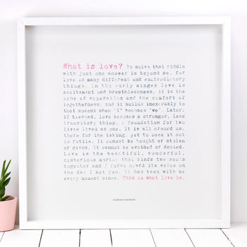 Wedding Gift 'What Is Love?' Large Paper Print
