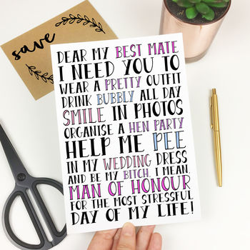 Funny 'Will You Be My Man Of Honour?' Card