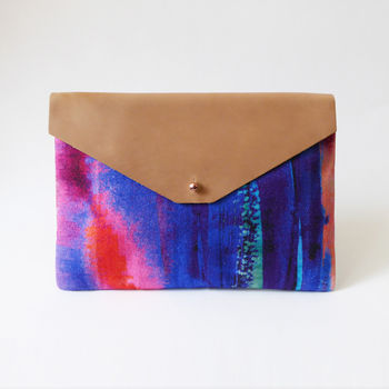 Contemporary Pink And Blue Envelope Clutch Bag