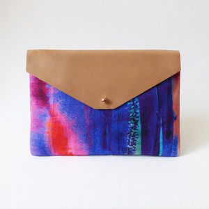 Contemporary Pink And Blue Envelope Clutch Bag - clutch bags