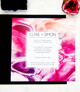 Pack Of Gemstone Marble Geode Wedding Invitation - wedding stationery