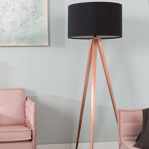 Tripod Copper Floor Lamp In Black