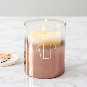 Personalised Initials Copper Ombre Candle Holder - gifts for her sale