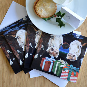 Cow Christmas Card Four Pack
