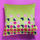 Mustard Geometric Velvet Cushion