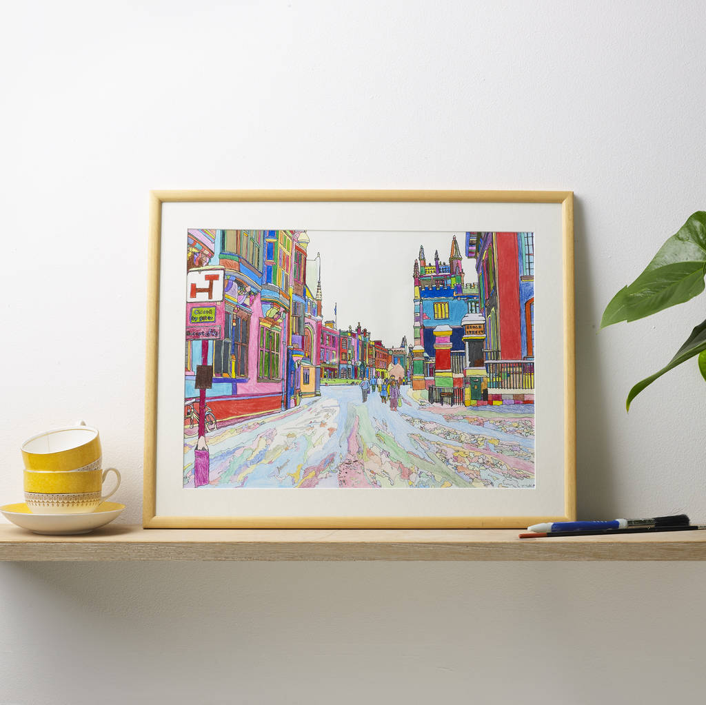 'In The Snow' Oxford Multicoloured Illustration Print