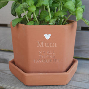 Personalised Hexagonal Herb Pot - 30th birthday gifts