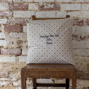 Personalised Embroidered Cushion Garden Ochre Grey