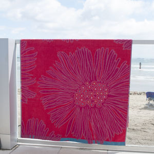 Bright And Bold Pink Floral Beach Towel