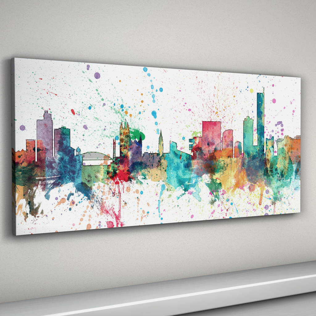 manchester skyline cityscape paint splashes print by artpause ...
