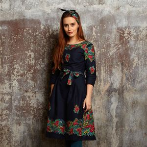Beatrice Black Hungarian Flower Dress - dresses