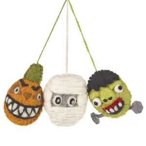 Handmade Spooky Family Halloween Dec, Bag Of Three