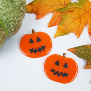 Handmade Glass Halloween Pumpkin Brooch