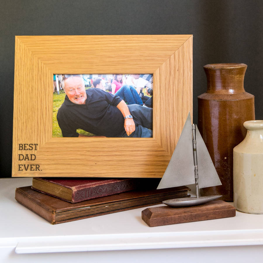 Best Dad Ever Engraved Wooden Photo Frame