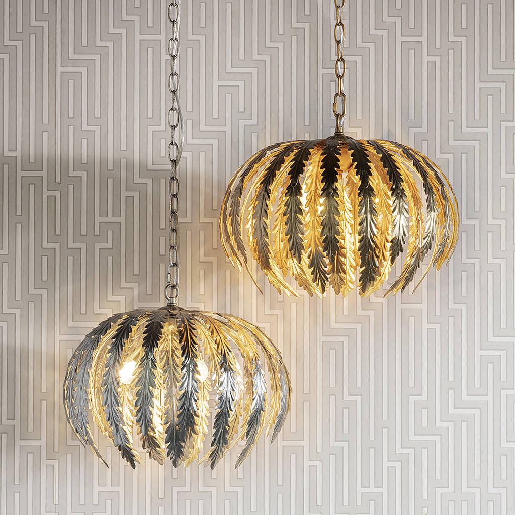 Metal Leaf Pendant Lights Gold Or Silver By Primrose