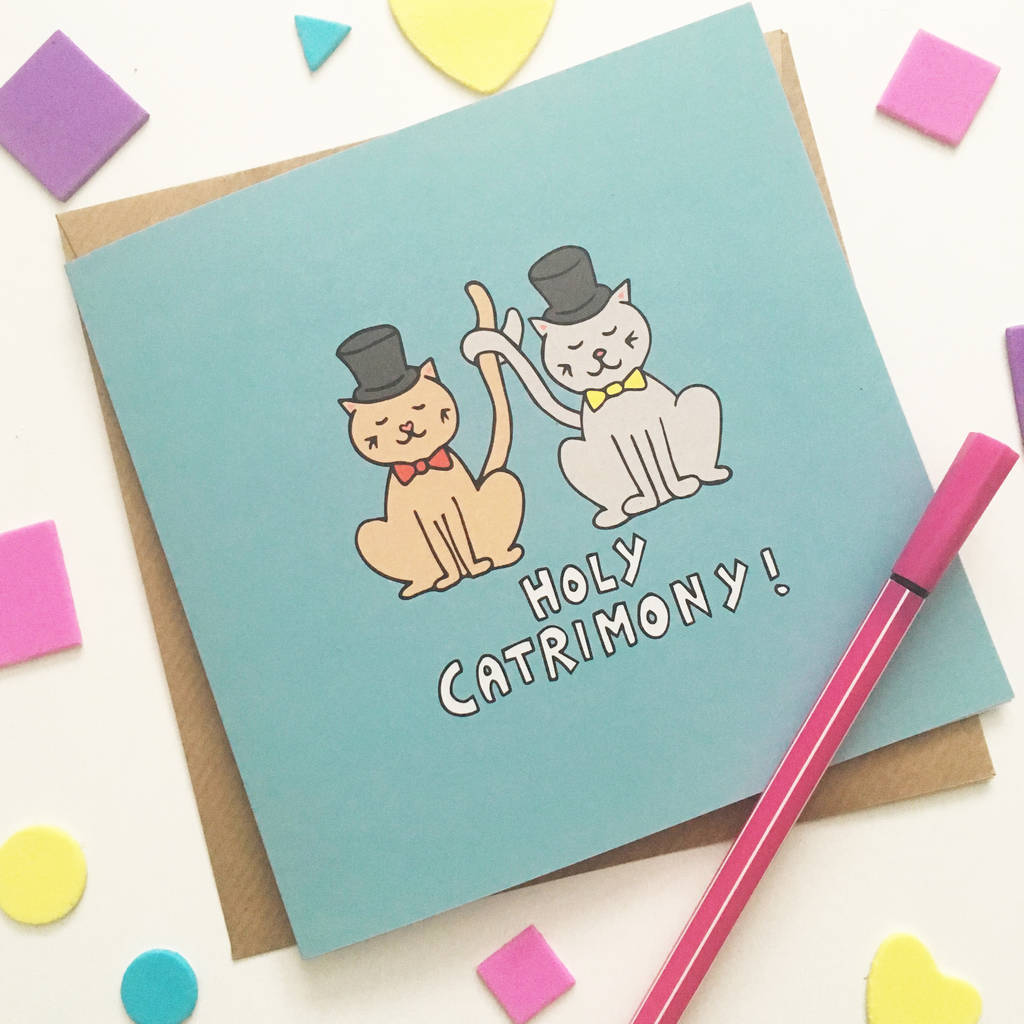 Cat Groom And Groom Wedding Card By Ladykerry Illustrated Gifts