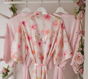 Floral Pink Wedding Watercolour Robe Gown - the morning of the big day