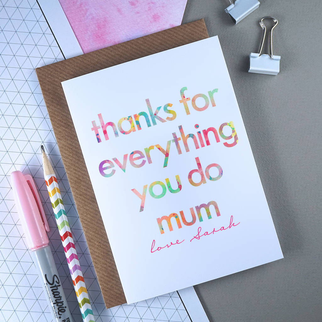 Thanks For Everything Mum Mother's Day Card