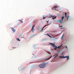 Illustrated Cat Print Scarf - scarves