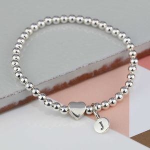 Personalised Milly Silver Heart Bracelet - wedding jewellery