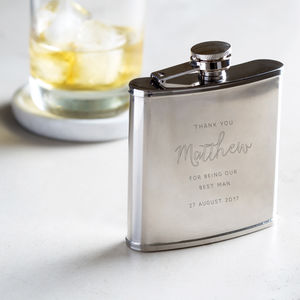 Personalised Engraved Best Man Hip Flask - camping